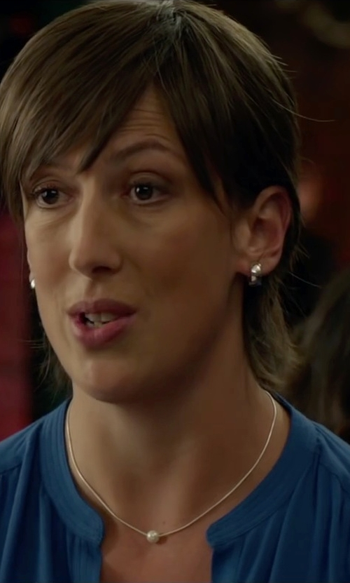 Miranda Hart with Ecru Silk Long-Sleeve Blouse in Spy