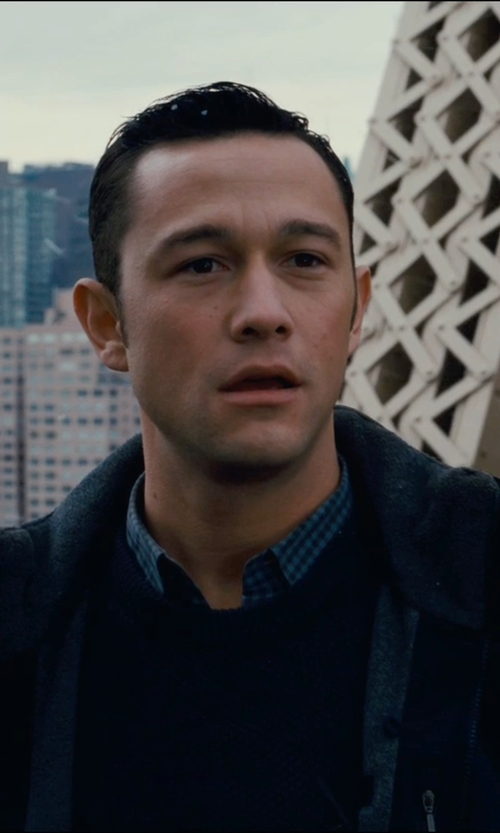 Joseph Gordon-Levitt with Finamore Gingham Check-Pattern Shirt in The Dark Knight Rises