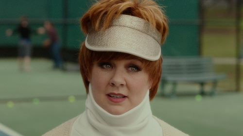 Melissa McCarthy with Zimmermann Raffia Leather Visor in The Boss
