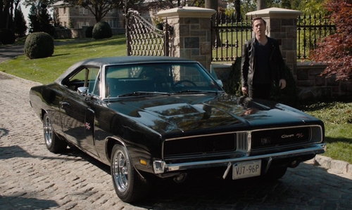 Damian Lewis with Dodge 1969 Charger RT Coupe in Billions