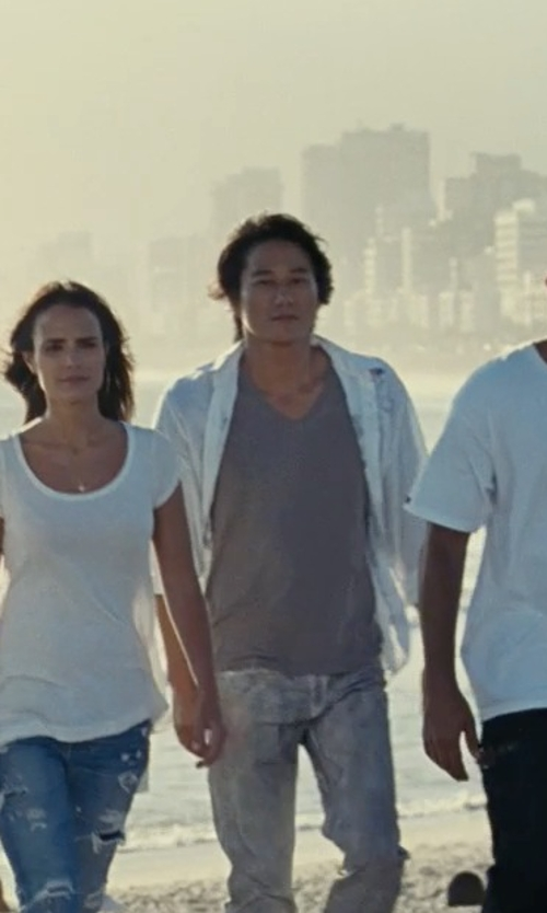 Sung Kang with Versace Collection Medusa V-Neck T-Shirt in Fast Five