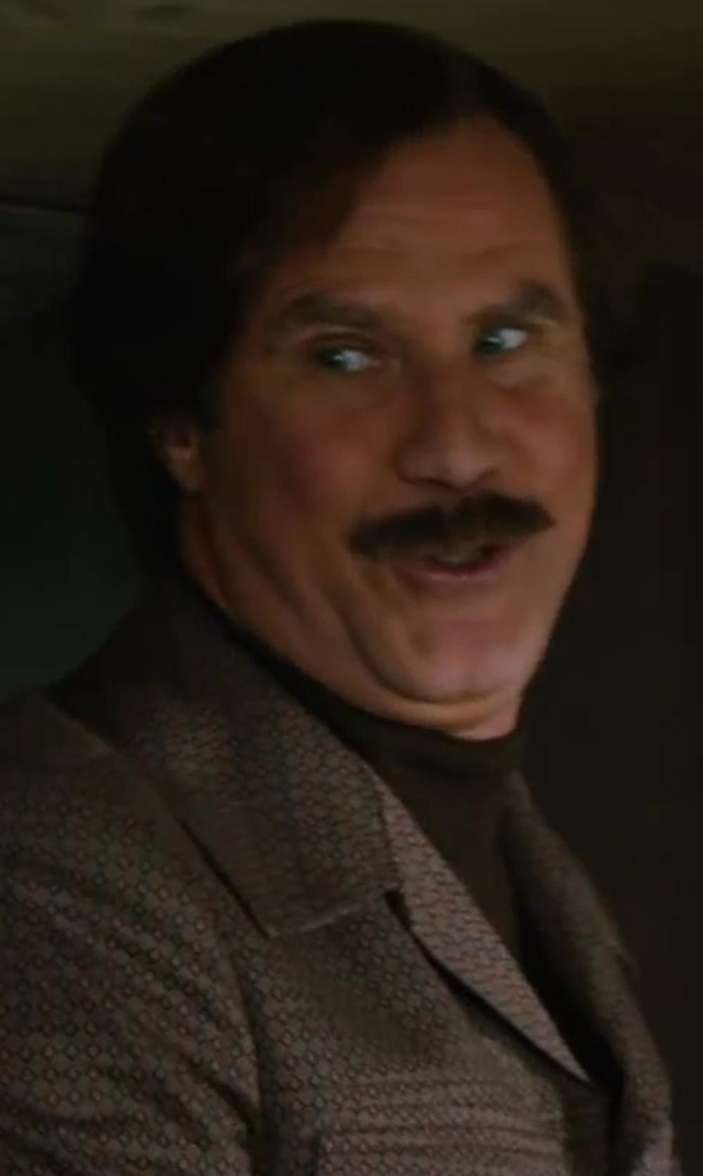 Will Ferrell with Calvin Klein Solid Tipped Merino Wool Turtleneck Sweater in Anchorman 2: The Legend Continues