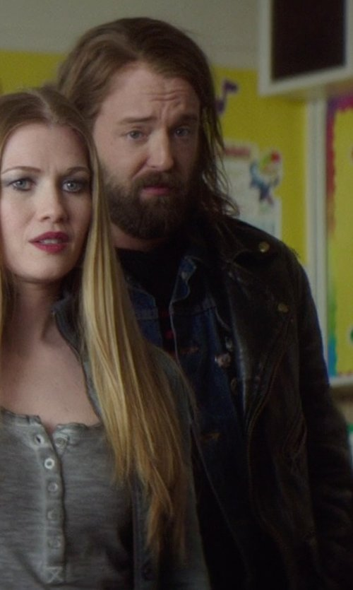 Joshua Leonard with Exemplar Men's Cowhide Leather Jacket in If I Stay