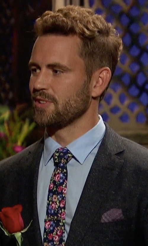 Nick Viall with Suited Man Navy & Violet Petite Rose Floral Tie in The Bachelor