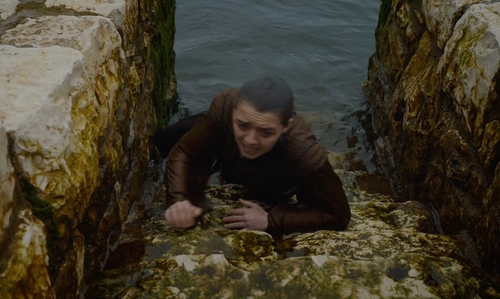 Maisie Williams with Carnlough Harbor (Depicted as Braavos) Larne, United Kingdom in Game of Thrones