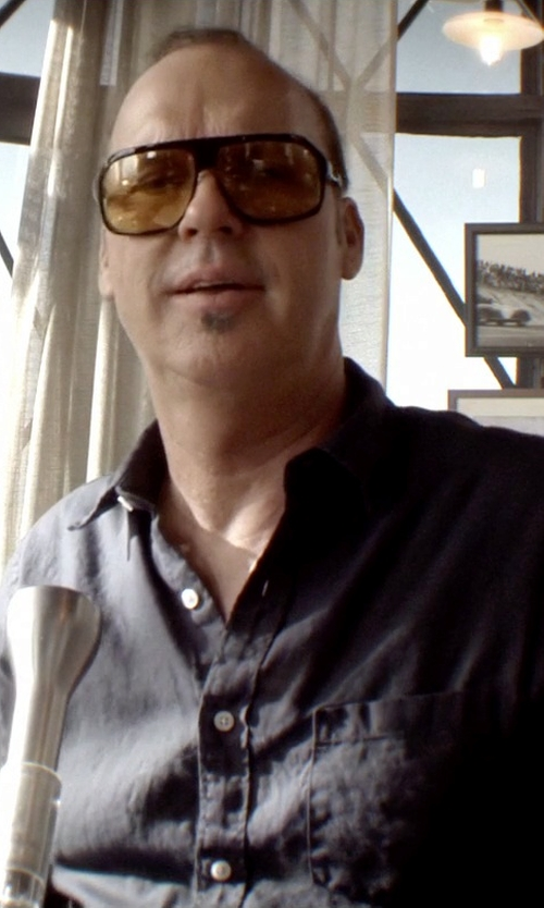Michael Keaton with Vince Chambray Sport Shirt in Need for Speed