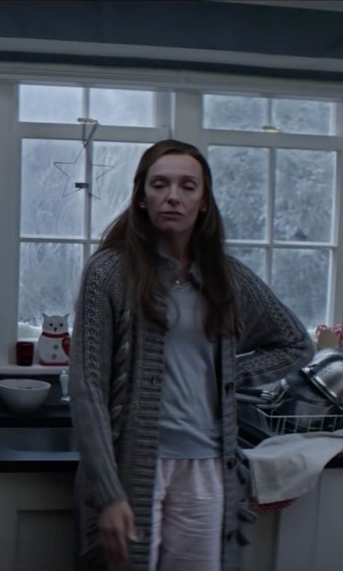 Toni Collette with UNIF Reverb Cardigan in Krampus