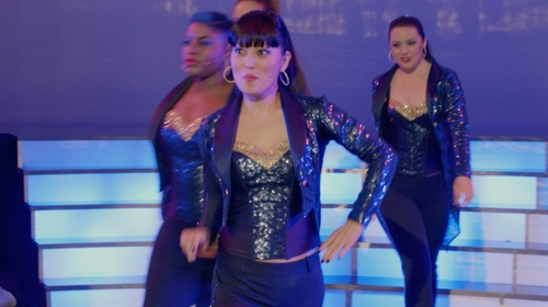Hana Mae Lee with Custom Navy & Gold Sequined Bustier in Pitch Perfect 2
