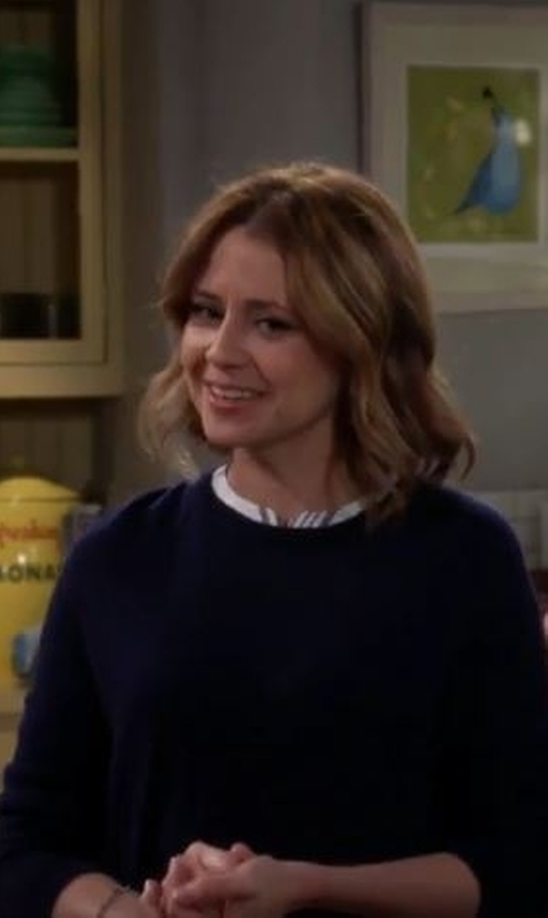 Jenna Fischer with Catherine Malandrino Black Label Hi-Lo Cashmere Sweater in Man With A Plan