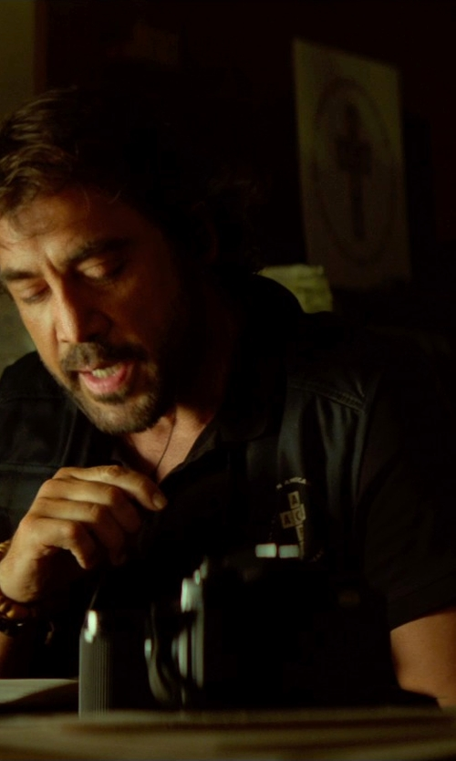 Javier Bardem with Milwaukee Leather Collarless Denim Vest in The Gunman