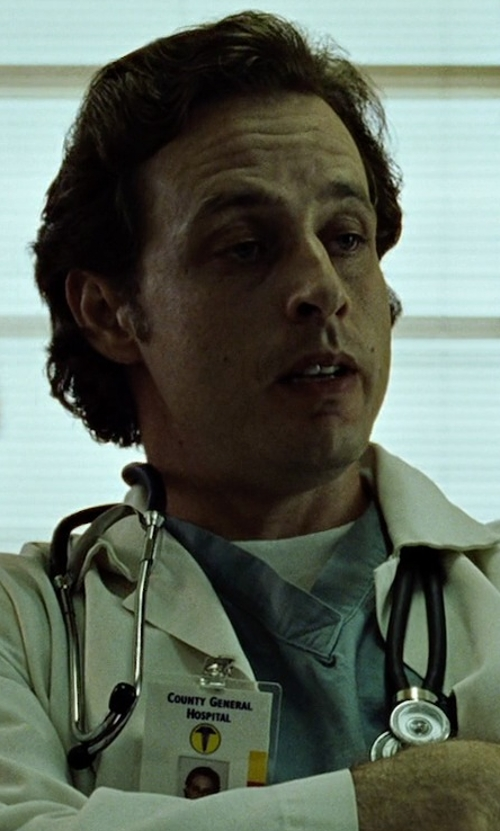 Richmond Arquette with White Swan Men's Ultimate V-Neck Scrub Top in Fight Club