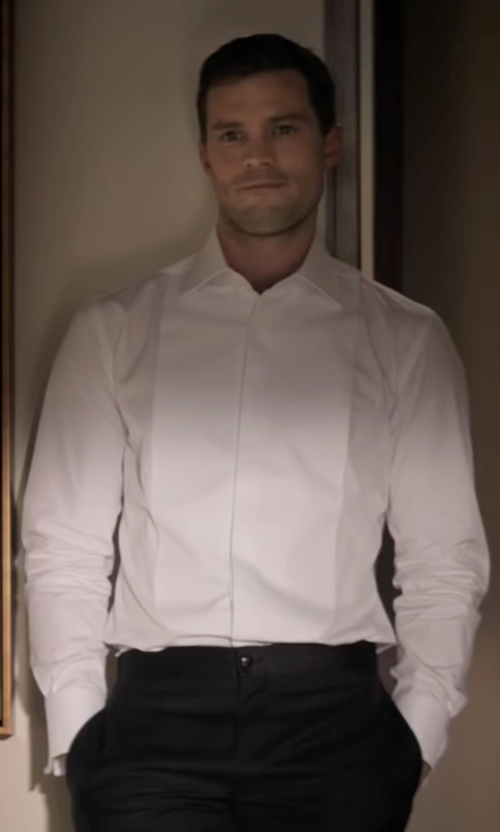 Jamie Dornan with Michelsons Pleated Point French Cuff Tuxedo Shirt in Fifty Shades Darker