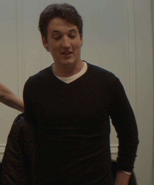 Miles Teller with Theory V-Neck Cotton & Cashmere Sweater in That Awkward Moment