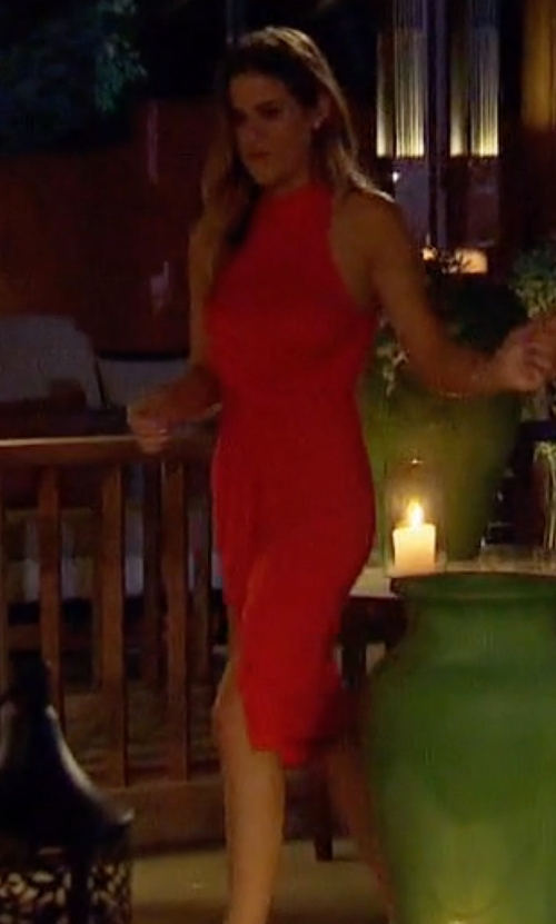 JoJo Fletcher with ASTR High Neck Front Twist Front Dress in The Bachelorette