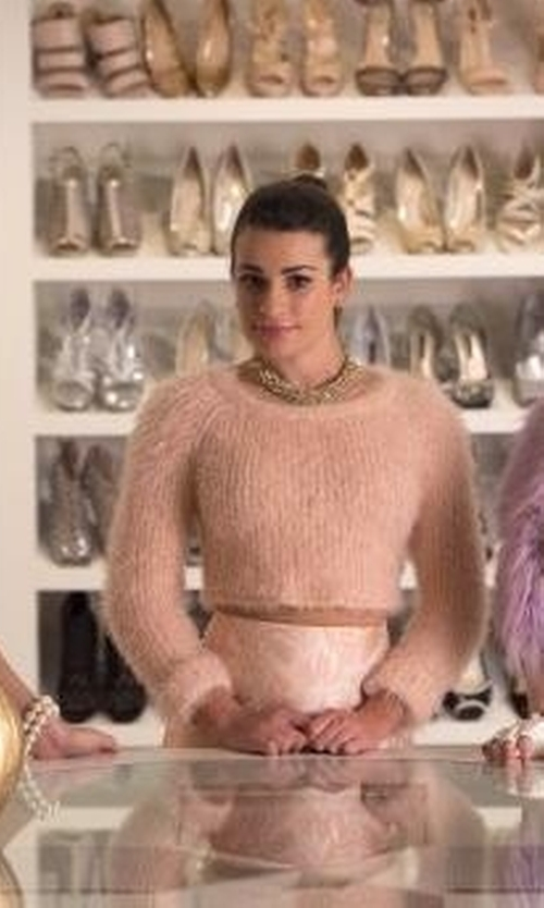 Lea Michele with Lovers + Friends Dolly Fuzzy Cropped Sweater in Scream Queens