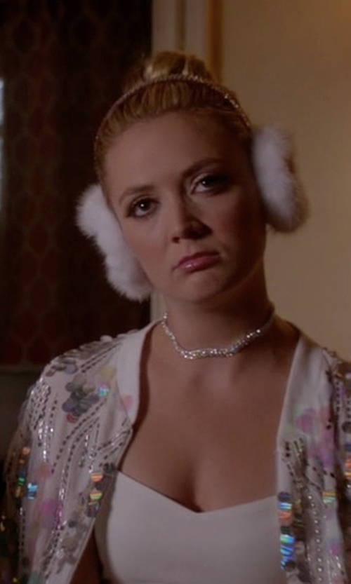 Billie Lourd with Alexis Bittar Crystal Spike Choker Necklace in Scream Queens