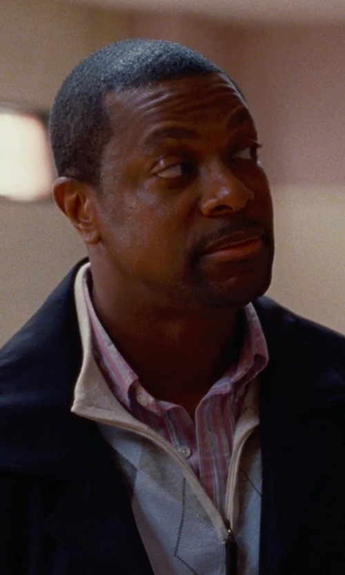 Chris Tucker with Thomas Dean Regular Fit Non-Iron Stripe Dress Shirt in Silver Linings Playbook