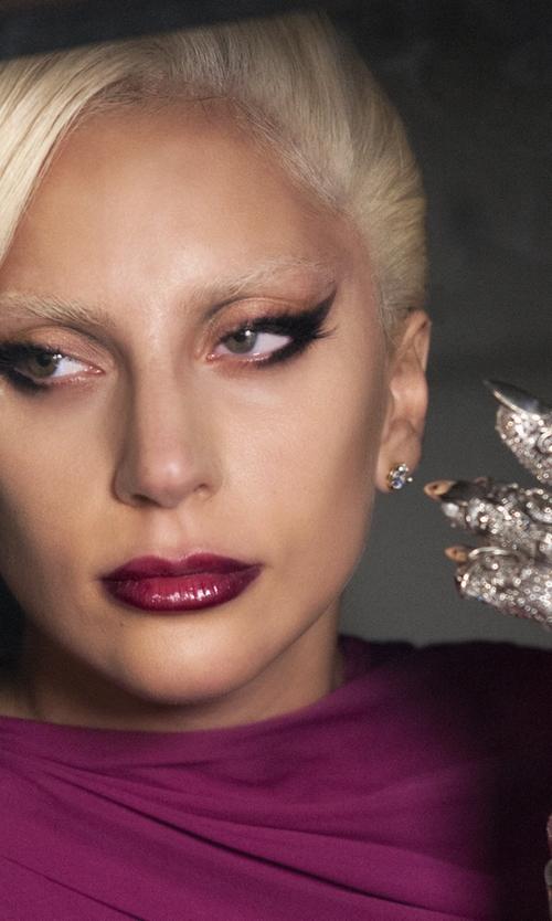 Lady Gaga with Michael Schmidt (Costume Designer) Custom Made Killer Crystal Gloves in American Horror Story