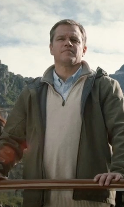 Matt Damon with Tailorbyrd Sikes Tipped Quarter Zip Sweater in Downsizing