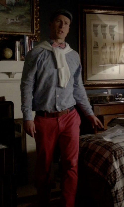Glen Powell with Brooks Brothers Milano Gart Dyed Twill Chinos in Scream Queens