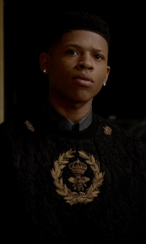 Bryshere Y. Gray with Dolce & Gabbana Brocade Bee and Crown Embroidery Pullover in Empire