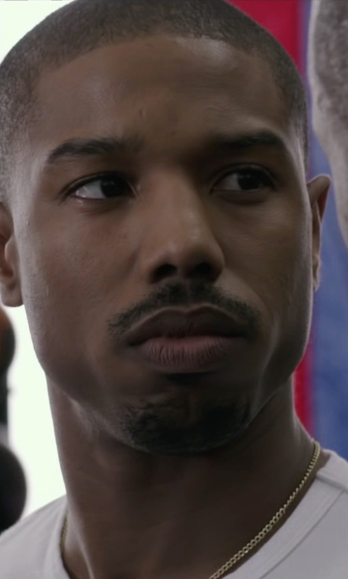 Michael B. Jordan with Melano Creation Gold Cuban Chain Necklace in Creed