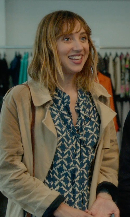 Zoe Kazan with Add Two Tone Water Resistant Trench Coat in What If