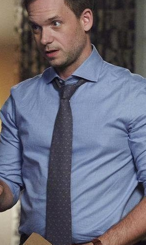 Patrick J. Adams with Armani Collezioni Slim-Fit Solid Dress Shirt in Suits
