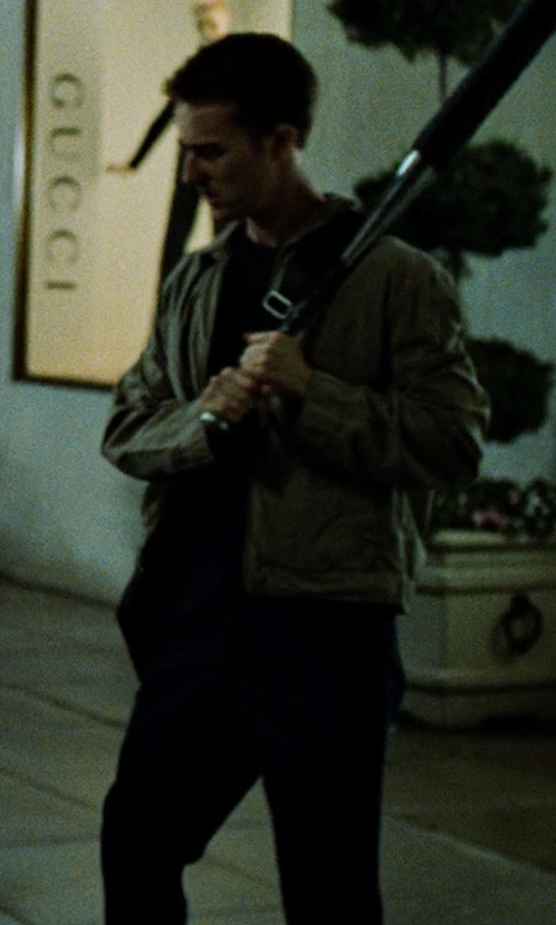 Edward Norton with Michael Kors Flat Front Stretch Wool Trousers in Fight Club