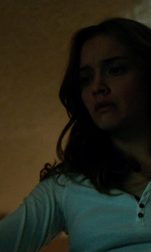 Olivia Cooke with Ruff Hewn Henley Peasant Top in Ouija