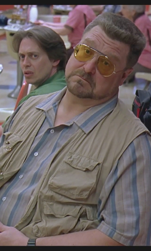 John Goodman with Tasso Elba Island Striped Linen-Blend Shirt in The Big Lebowski