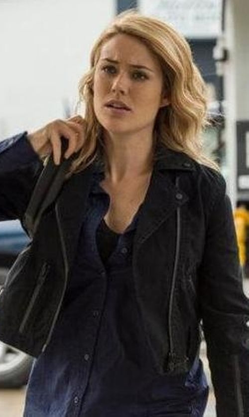 Megan Boone with R13 Leather Crop Moto Jacket in The Blacklist