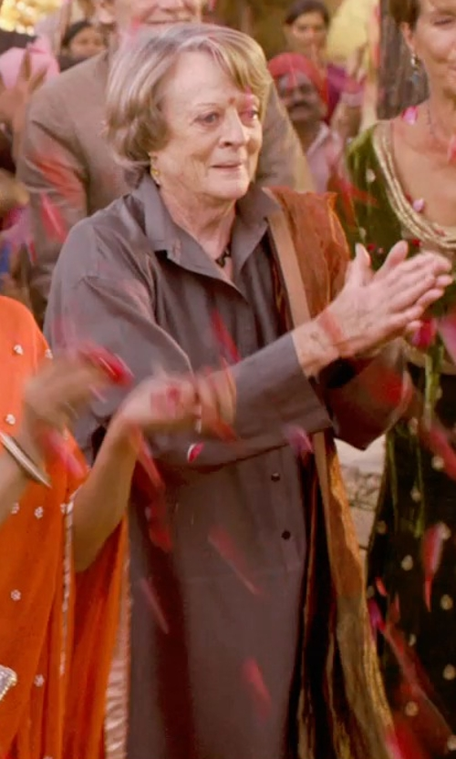Maggie Smith with La Garçonne Moderne Writer Overcoat in The Second Best Exotic Marigold Hotel