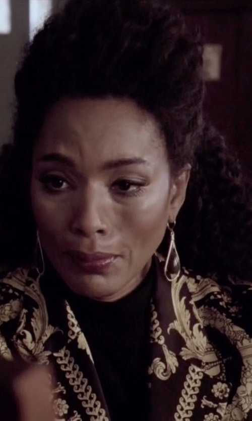 Angela Bassett with Moschino Vintage Fashion Timeline  Print Blazer in American Horror Story