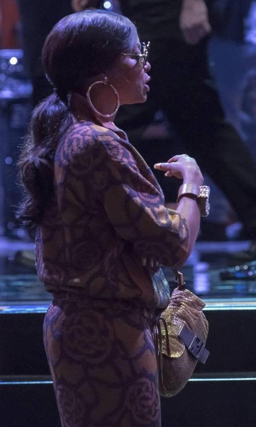 Taraji P. Henson with Fendi Beaded Baguette Shoulder Bag in Empire