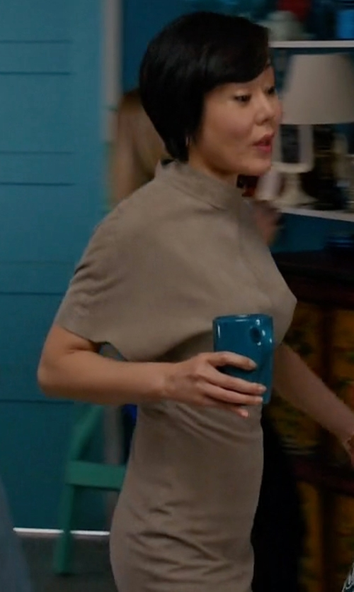 Yunjin Kim with Margeaux High-Neck Suede Dress in Mistresses