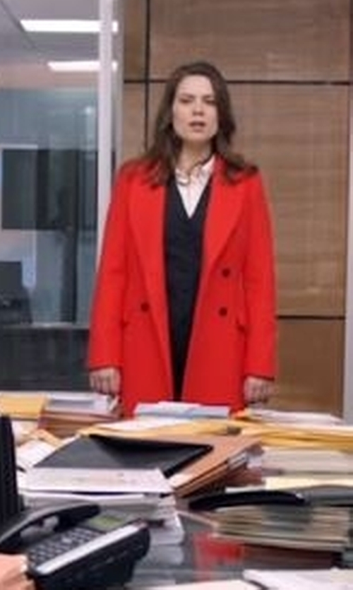 Hayley Atwell with Each X Other Double-Breasted Long Coat in Conviction