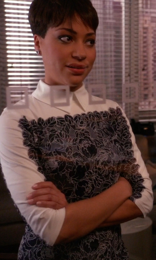 Cush Jumbo with Roberto Cavalli Long-Sleeve Feather-Print Shirtdress in The Good Wife