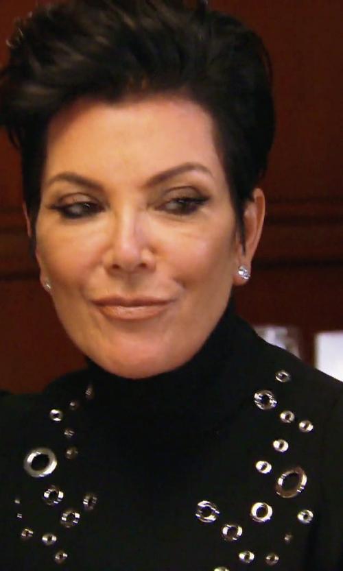 Kris Jenner with Mugler Eyelet-Embellished Wool-Crepe Mini Dress in Keeping Up With The Kardashians