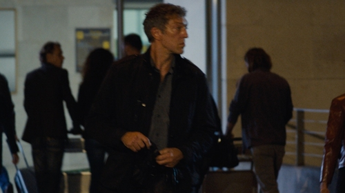 Vincent Cassel with Peter Millar Melange Herringbone Long-Sleeve Sport Shirt in Jason Bourne