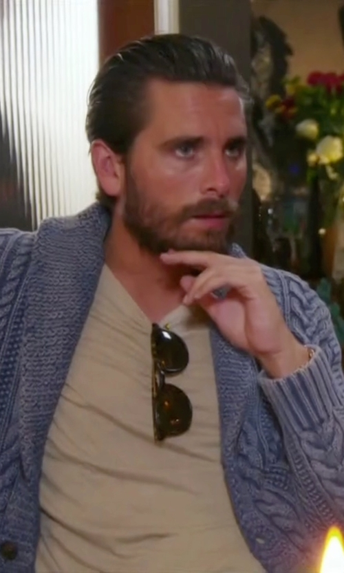 Scott Disick with Ralph Lauren Cable Knit Shawl Cardigan in Keeping Up With The Kardashians