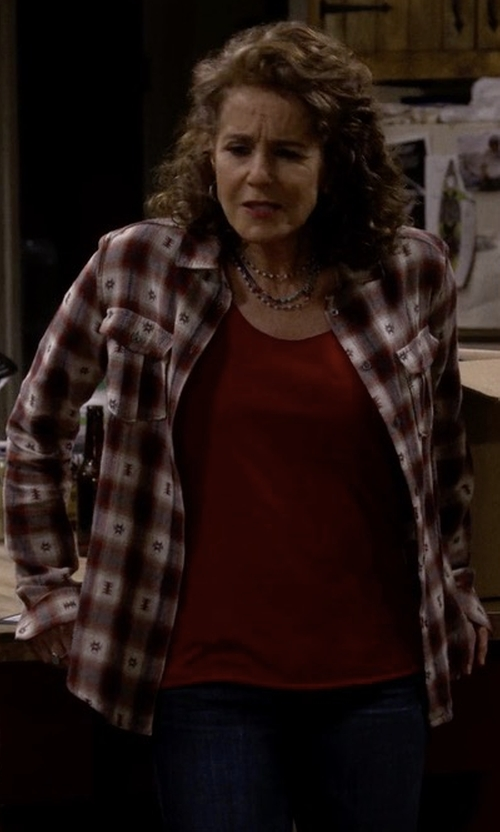 Debra Winger with Paige Jacquard Plaid Shirt in The Ranch