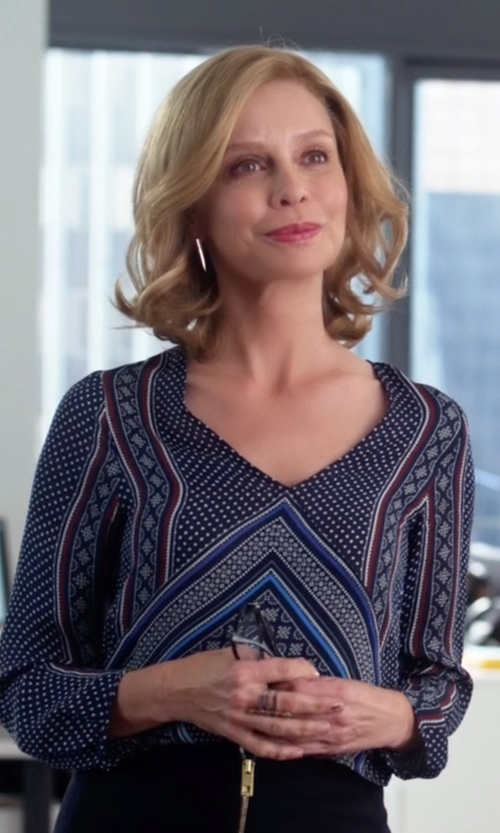 Calista Flockhart with Derek Lam 10 Crosby Wrap-Front Long-Sleeve Blouse in Supergirl
