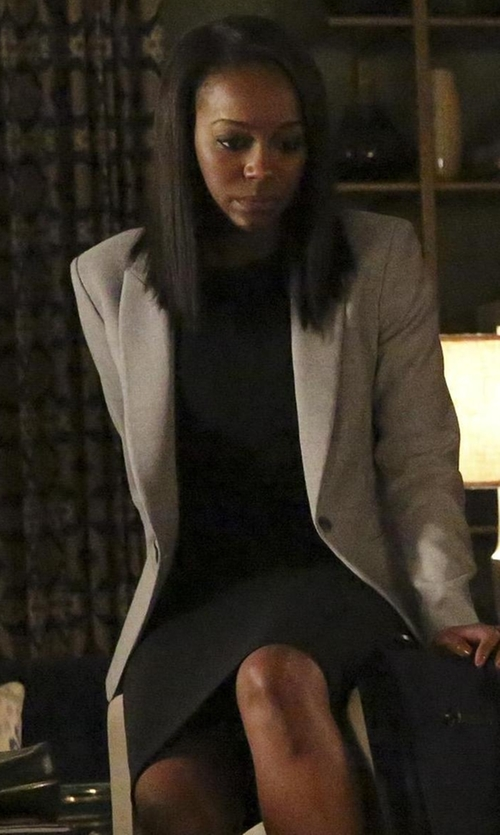 Aja Naomi King with Lafayette 148 New York Marilyn Sleeveless Sheath Dress in How To Get Away With Murder