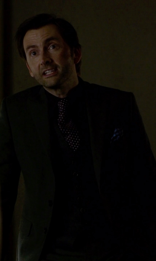 David Tennant with Hugo Boss Three Piece Wool Suit in Jessica Jones
