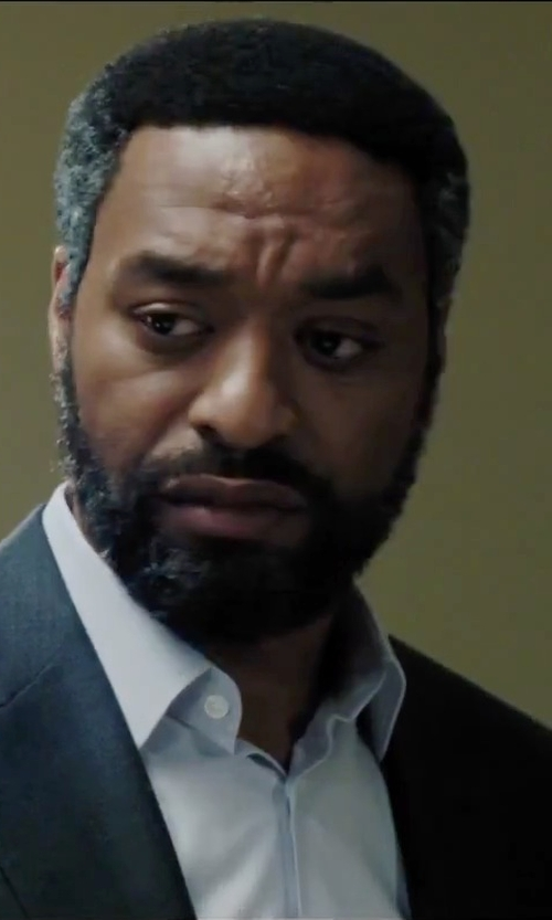 Chiwetel Ejiofor with Ike Behar Diagonal Twill Dress Shirt in Secret in Their Eyes