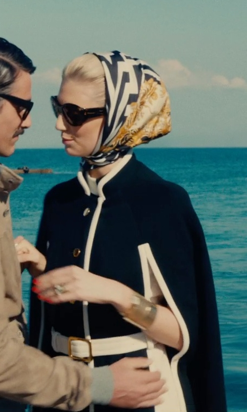 Elizabeth Debicki with Emilio Pucci Leather-Trimmed Cape in The Man from U.N.C.L.E.