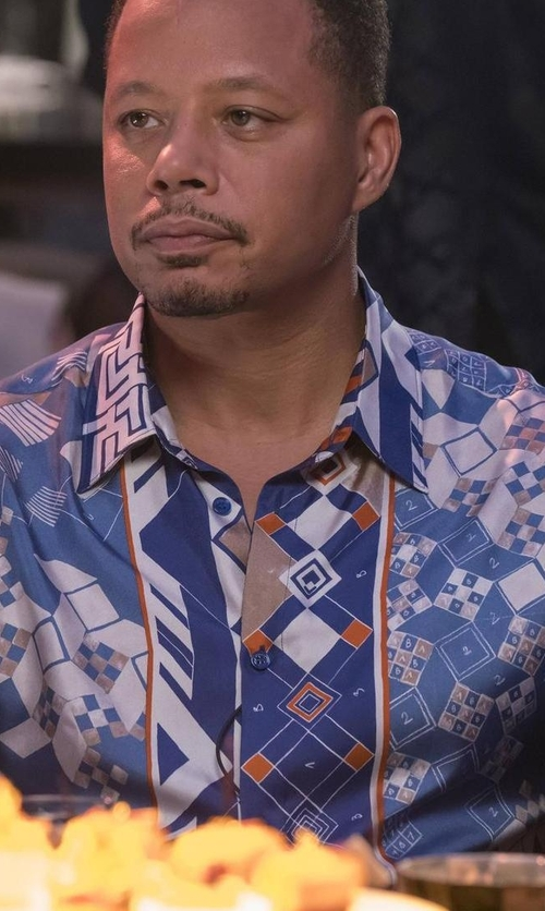 Terrence Howard  with Versace Domino Foulard Silk Shirt in Empire