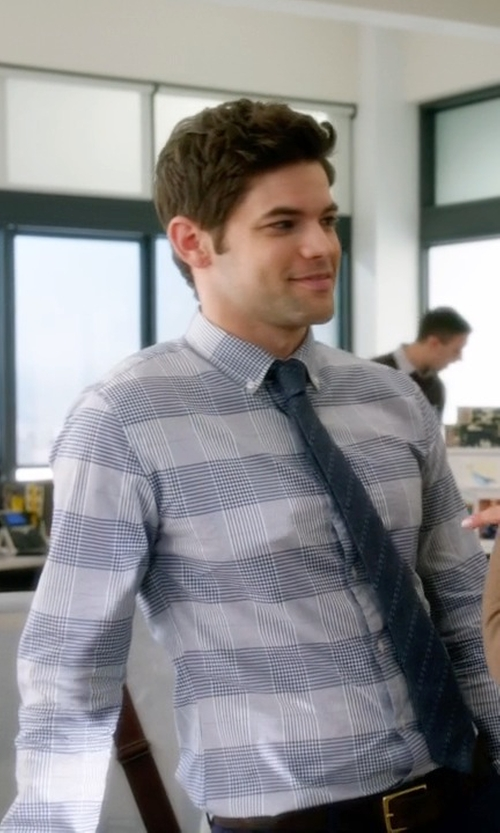Jeremy Jordan with Burberry Brit Button-Down Collar Checked Cotton Shirt in Supergirl