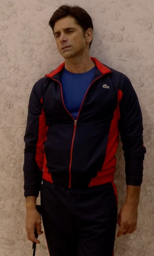 John Stamos with Lacoste Men's Sport Taffeta Color Block Tennis Tracksuit in Scream Queens